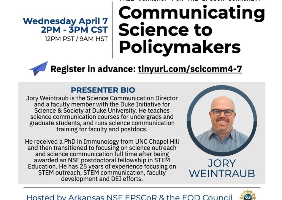 Free EPSCoR Webinar: Communicating Science to Policy Makers